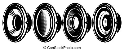 A set of different speakers. Monochrome vector illustration. Elements for design