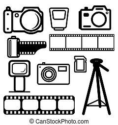 A set of digital cameras, tripod, film, flash.