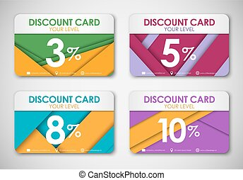 A set of discount cards in the style of the material design