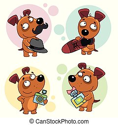 A set of dog icons depicting a dog wearing a hat and a mustache, holding a shoe in his teeth, with a camera and a bottle of perfume, for design and children.