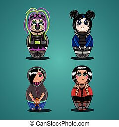 A set of dolls of subcultures