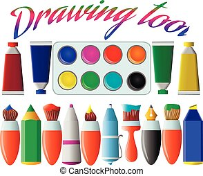 A set of drawing tools. Brushes, pencil, pen, marker, paint on a white background. Vector illustration.