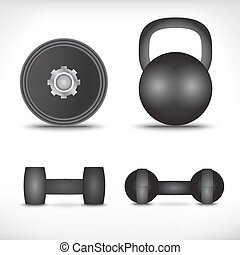 A set of dumbbells isolated on white background