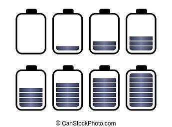 A set of eight batteries