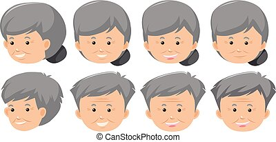 A set of elderly facial expression