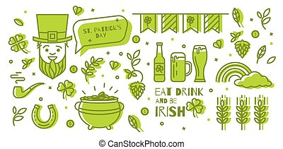 set of elements for St. Patrick's Day.