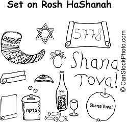 A set of elements for the Jewish holiday Rosh HaShanah. Hebrew. Doodle. Hand draw. Vector illustration on isolated background