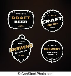 A set of Emblems, logos on the theme of brewing on a dark background.