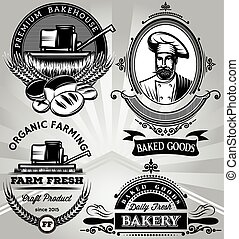 a set of emblems on the subject baking with the baker harvester