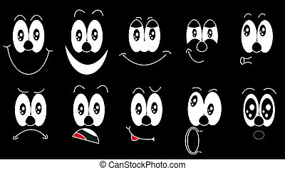 A set of emoji, a set of emotions of funny faces with different emotions, joy, sadness, fear, surprise, smile, cry, doubt drawn in white on a black background. Vector illustration