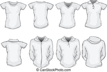 a set of female shirts template
