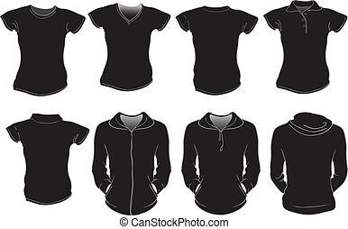 female shirts template in black