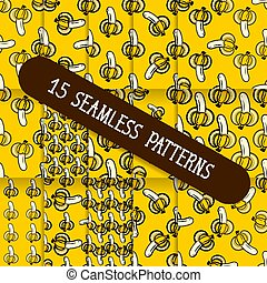 A Set Of Fifteen Seamless Patterns For Your Products And Business. Vector