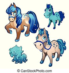 A set of figurines in the form of fairy pony isolated on a white background. Vector cartoon close-up illustration.