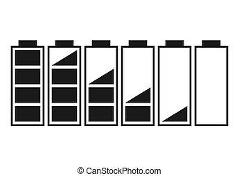 A set of five batteries