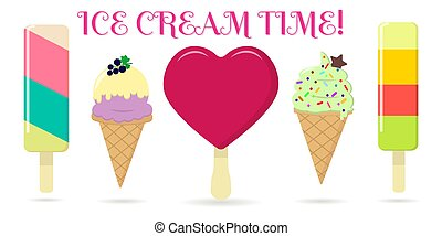 A set of five different sweet ice cream on a background with text.