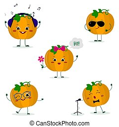 A set of five Kawaii cute pumpkin vegetablein a cartoon style. In headphones, in sunglasses, dancing in glasses , with a flower, singing into the microphone. Flat, Vector illustration