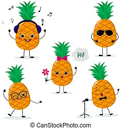 A set of five pineapples Smiley in different poses in a cartoon style.