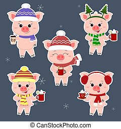 A set of five stickers of pigs in different hats and a scarf with cups of different hot drinks in a white stroke. Happy New Year and Merry Christmas. The symbol of the Chinese New Year. Vector