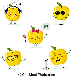 A set of five yellow apple Smiley in different poses in a cartoon style.