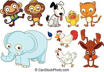 A set of flat animals