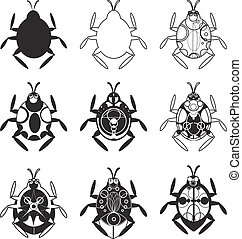 "A set of flat beetles. Scarab beetle"". A flat beetle icon. Stylish button beetle. Fashion print ""Scarab"""