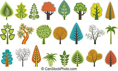 A set of flat silhouettes of trees of