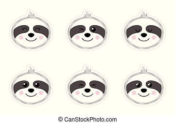 A set of flat smileys in the shape of a sloth. Cute cartoon pictures. Stickers. Vector illustration