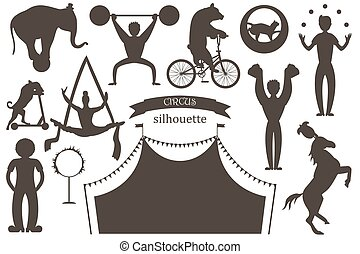 A set of flat vector silhouettes of circus artists. Clowns, acrobats and trained animals.