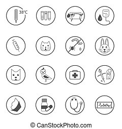 A set of flat vet icons