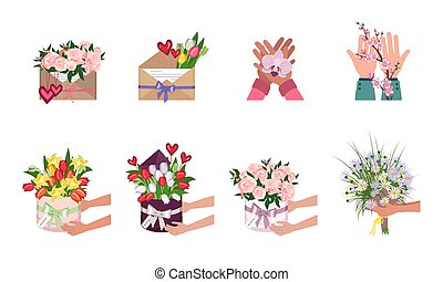 A set of flowers in a round box, envelope and in hands