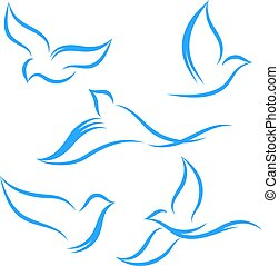 A set of flying abstract birds of blue color