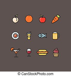 A set of food and drinks icons