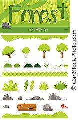 a set of Forest Element. Vector Illustration