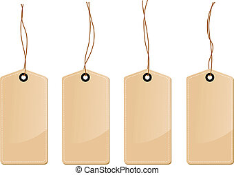 a set of four brown tag labels