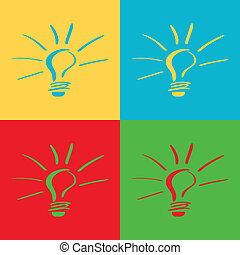 a set of four colored lightbulbs in different backgrounds
