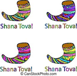 A set of four shofar. Rosh a Shana. Hebrew. Doodle. Hand draw. Vector illustration on isolated background