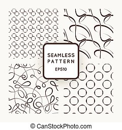 A set of four vector seamless patterns. Curls. Circles.