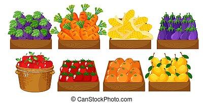 A set of fruits in basket