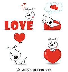 A set of funny dogs with hearts