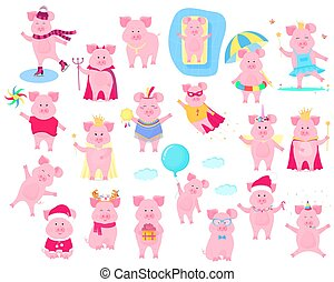 A set of funny piggy characters. Superhero in a raincoat and a mask. Princess in the crown. Pig skating. King. Halloween