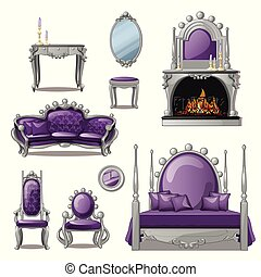 A set of furniture and accessories for living room interior in grey and purple. Vintage style. Vector illustration.