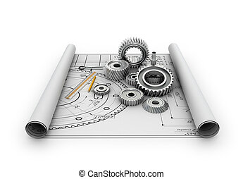 A set of gears and bearings lying on posters with blueprints