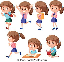 A set of girl character