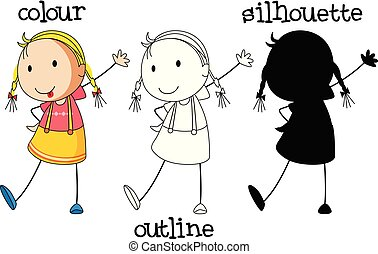 A set of girl with different graphic design