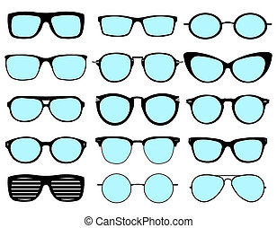 A set of glasses isolated. glasses model icons. Sunglasses, glasses, isolated on white background. Various shapes - stock .