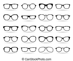 A set of glasses isolated. Vector Icons.