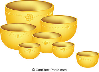 A Set of Golden Bowls on White Background