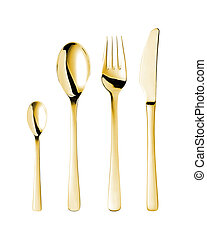 a set of golden cutlery