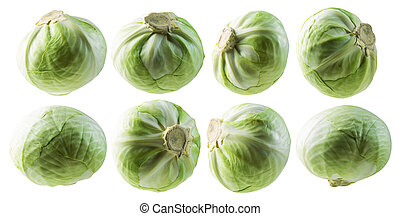 A set of green cabbage. Isolated on a white background